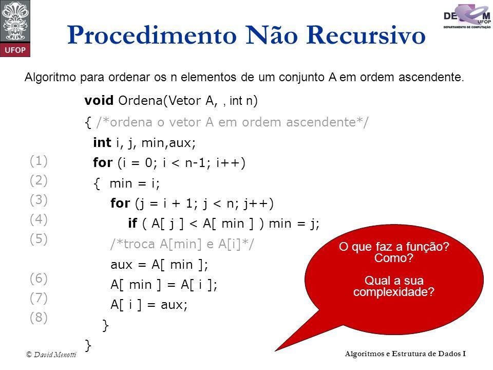 © David Menotti Algoritmos e Estrutura de Dados I Algoritmo para ordenar os n elementos de um conjunto A em ordem ascendente. (1) (2) (3) (4) (5) (6)