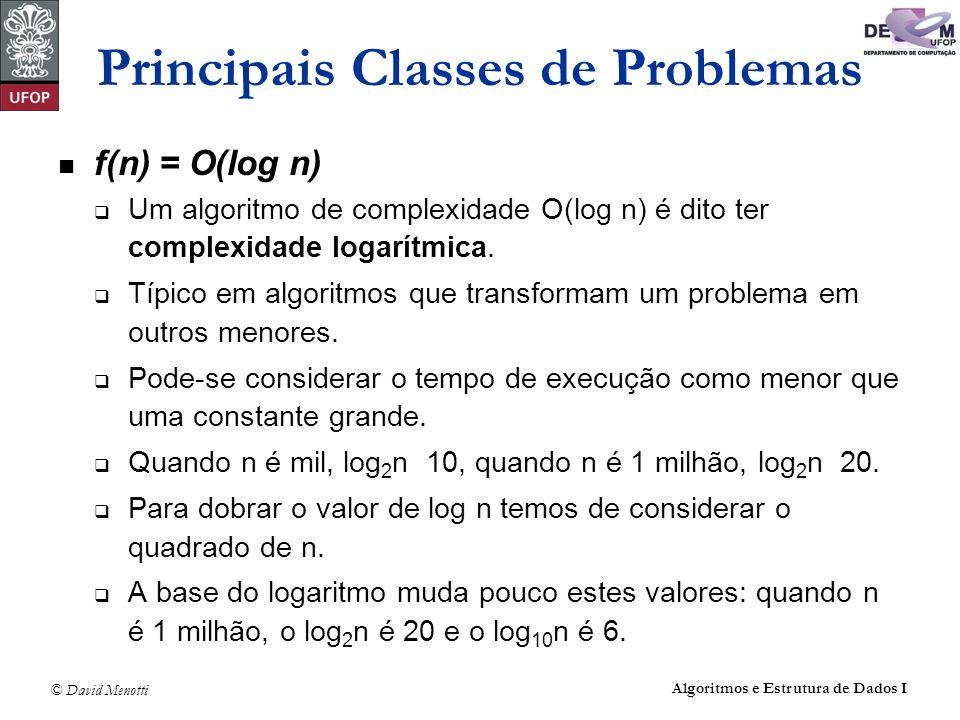 © David Menotti Algoritmos e Estrutura de Dados I f(n) = O(log n) Um algoritmo de complexidade O(log n) é dito ter complexidade logarítmica. Típico em