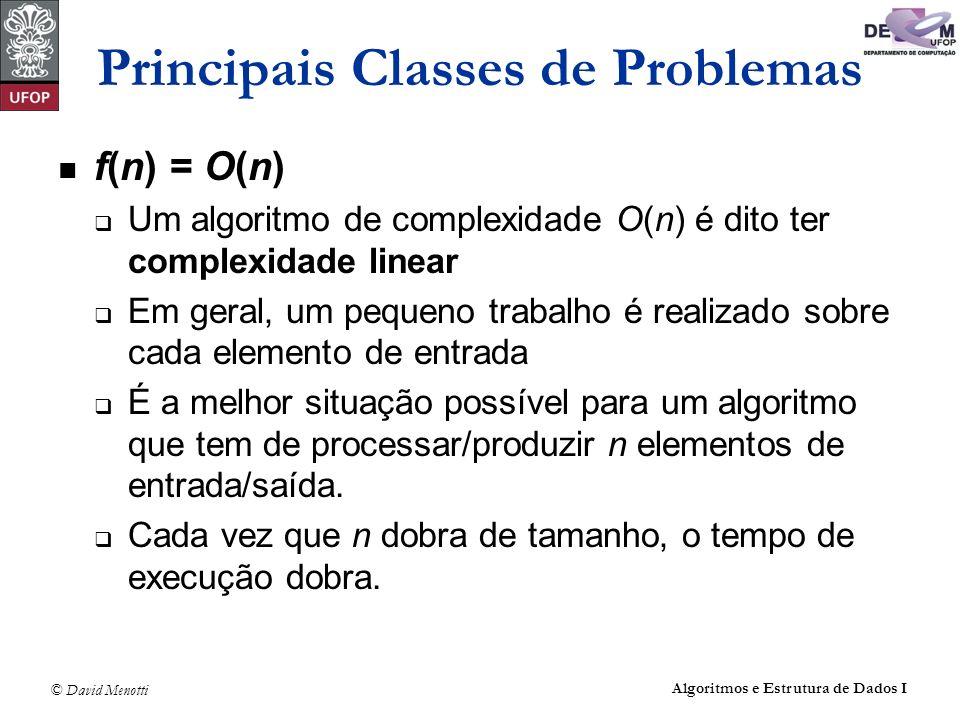 © David Menotti Algoritmos e Estrutura de Dados I Principais Classes de Problemas f(n) = O(n) Um algoritmo de complexidade O(n) é dito ter complexidad
