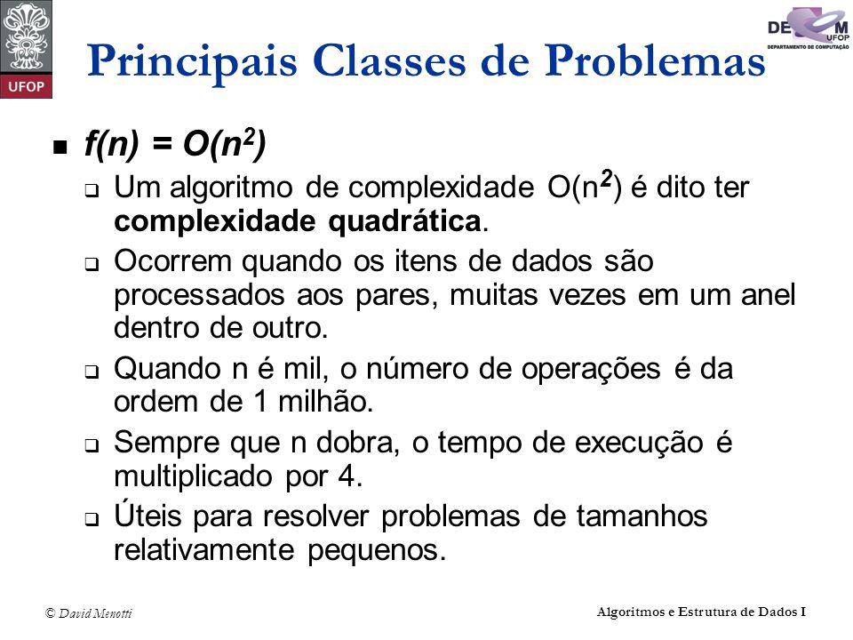 © David Menotti Algoritmos e Estrutura de Dados I Principais Classes de Problemas f(n) = O(n 2 ) Um algoritmo de complexidade O(n 2 ) é dito ter compl