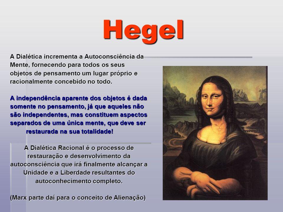 Hegel A Dialética incrementa a Autoconsciência da Mente, fornecendo para todos os seus objetos de pensamento um lugar próprio e racionalmente concebid