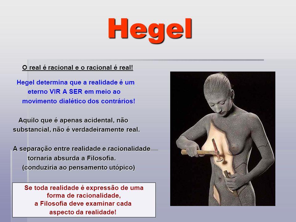 Hegel O real é racional e o racional é real! Hegel determina que a realidade é um eterno VIR A SER em meio ao movimento dialético dos contrários! Aqui