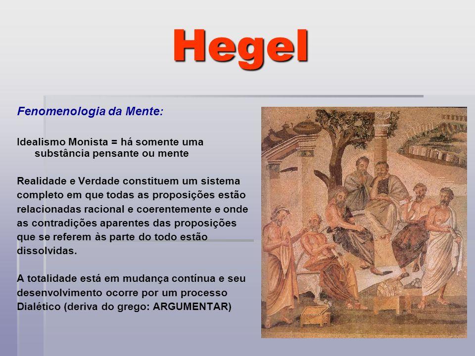 Hegel Fenomenologia da Mente: Idealismo Monista = há somente uma substância pensante ou mente Realidade e Verdade constituem um sistema completo em qu