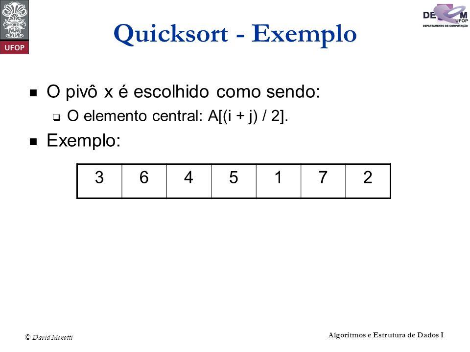 © David Menotti Algoritmos e Estrutura de Dados I Quicksort Não Recursivo void QuickSortNaoRec (Vetor A, Indice n) { TipoPilha pilha; TipoItem item; int esq, dir, i, j; FPVazia(&pilha); esq = 0; dir = n-1; item.dir = dir; item.esq = esq; Empilha(item, &pilha); do if (dir > esq) { Particao(A,esq,dir,&i, &j); if ((j-esq)>(dir-i)) { item.dir = j; item.esq = esq; Empilha(item, &pilha); esq = i; } else { item.esq = i; item.dir = dir; Empilha(item, &pilha); dir = j; } else { Desempilha(&pilha,&item); dir = item.dir; esq = item.esq; } while (!Vazia(pilha)); }