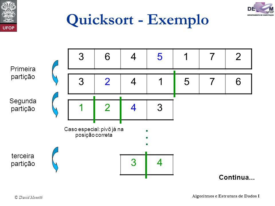 © David Menotti Algoritmos e Estrutura de Dados I Quicksort - Exemplo 3645172 3241576 Primeira partição 1243576 Segunda partição 1234576 terceira part