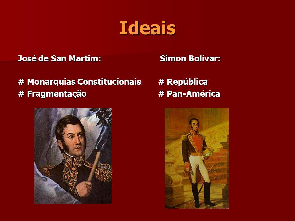 Ideais José de San Martim: # Monarquias Constitucionais # Fragmentação Simon Bolívar: Simon Bolívar: # República # República # Pan-América # Pan-Améri