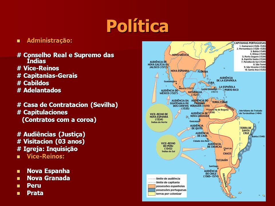 Política Administração: Administração: # Conselho Real e Supremo das Índias # Vice-Reinos # Capitanias-Gerais # Cabildos # Adelantados # Casa de Contr