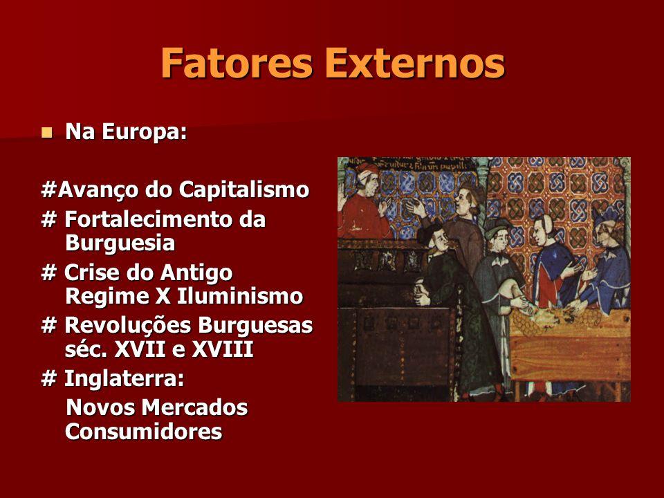 Fatores Externos Na Europa: Na Europa: #Avanço do Capitalismo # Fortalecimento da Burguesia # Crise do Antigo Regime X Iluminismo # Revoluções Burgues