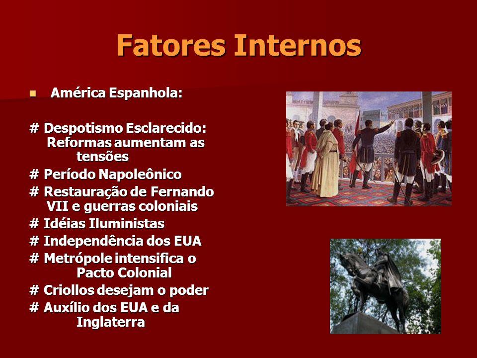 Fatores Internos América Espanhola: América Espanhola: # Despotismo Esclarecido: Reformas aumentam as tensões # Período Napoleônico # Restauração de F