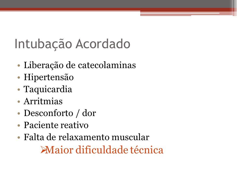 Intubação Acordado Liberação de catecolaminas Hipertensão Taquicardia Arritmias Desconforto / dor Paciente reativo Falta de relaxamento muscular Maior