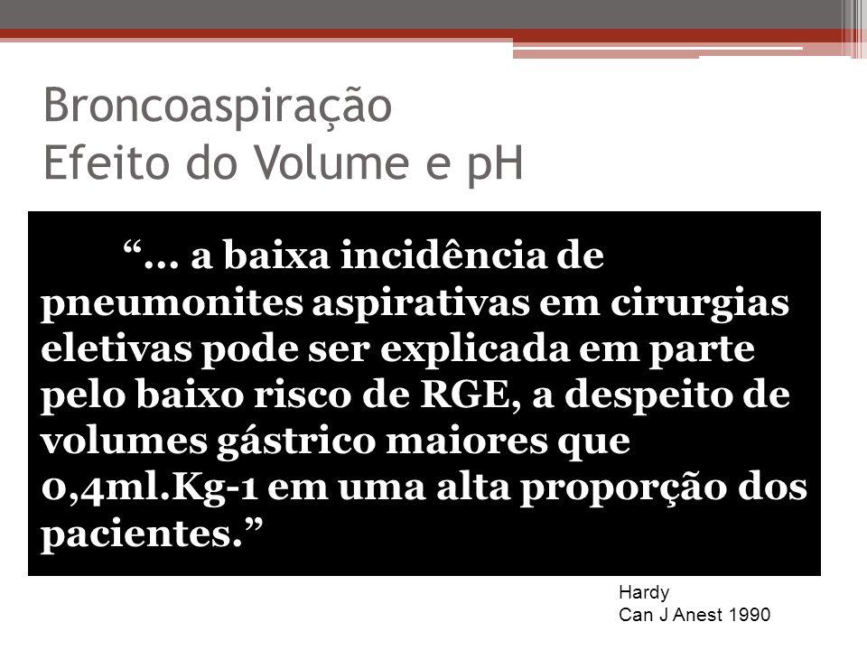 Broncoaspiração Efeito do Volume e pH Hardy Can J Anest 1990... a baixa incidência de pneumonites aspirativas em cirurgias eletivas pode ser explicada