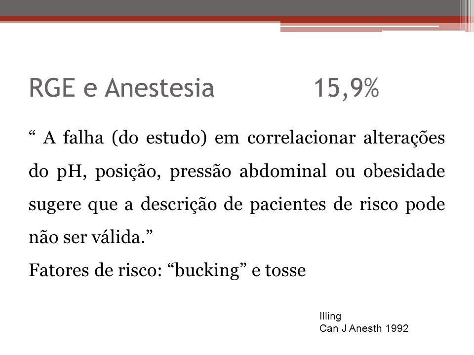 RGE e Anestesia15,9% A falha (do estudo) em correlacionar alterações do pH, posição, pressão abdominal ou obesidade sugere que a descrição de paciente