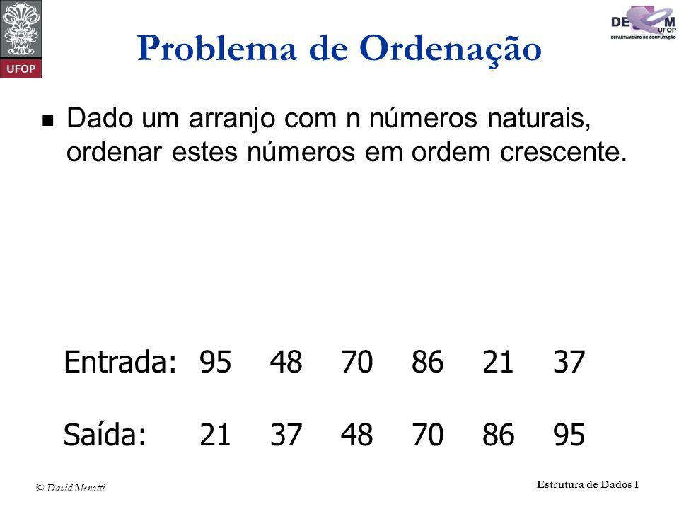 © David Menotti Estrutura de Dados I Dado um arranjo com n números naturais, ordenar estes números em ordem crescente. Entrada:95 48 70 86 21 37 Saída