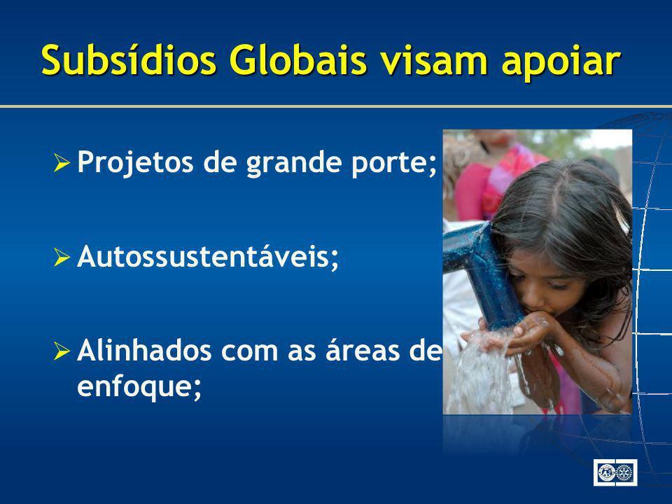 Subsídios Globais visam apoiar Projetos de grande porte; Autossustentáveis; Alinhados com as áreas de enfoque;