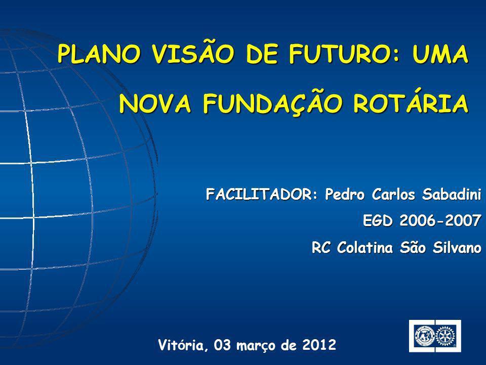 FACILITADOR: Pedro Carlos Sabadini EGD 2006-2007 RC Colatina São Silvano PLANO VISÃO DE FUTURO: UMA NOVA FUNDAÇÃO ROTÁRIA Vit ó ria, 03 mar ç o de 201