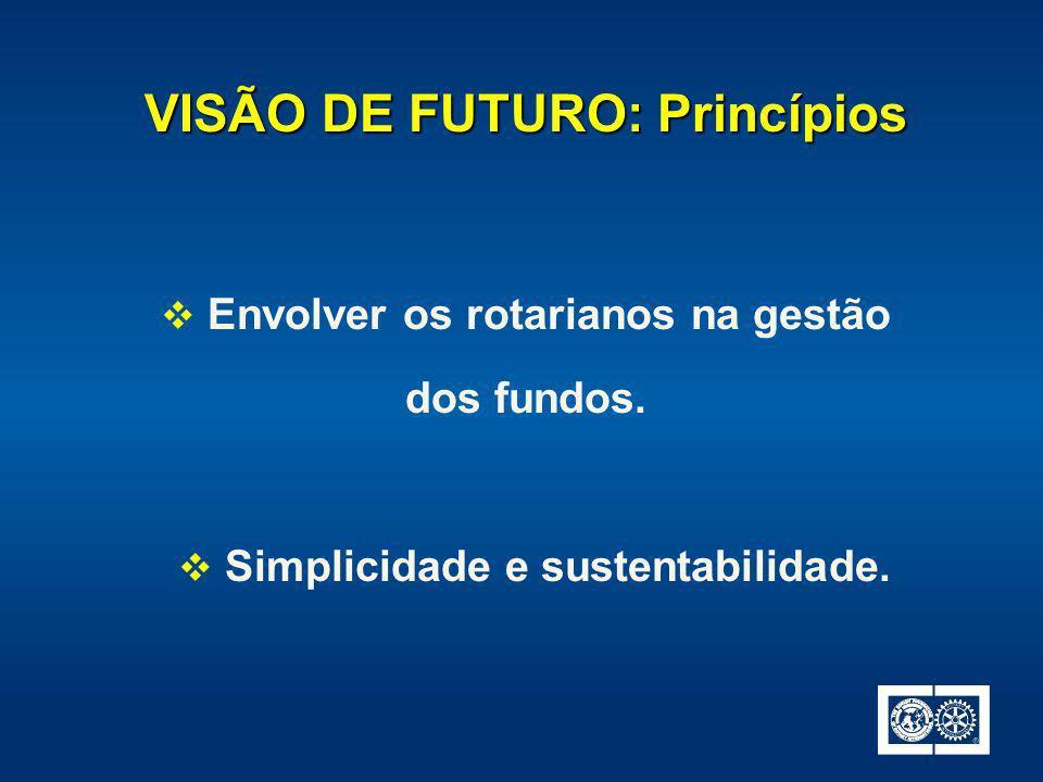 VISÃO DE FUTURO: Princípios Simplicidade e sustentabilidade. Envolver os rotarianos na gestão dos fundos.