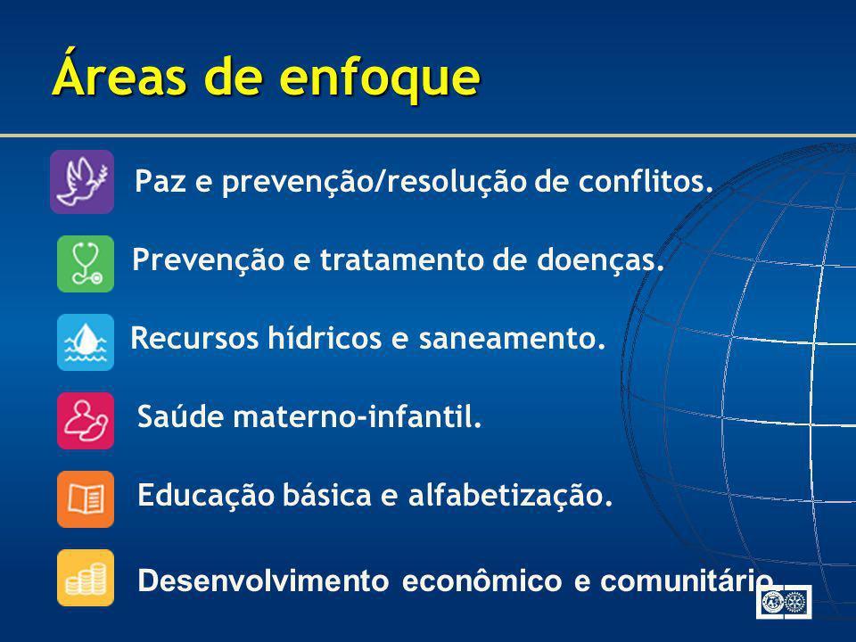 Paz e prevenção/resolução de conflitos. Áreas de enfoque Prevenção e tratamento de doenças. Recursos hídricos e saneamento. Saúde materno-infantil. Ed