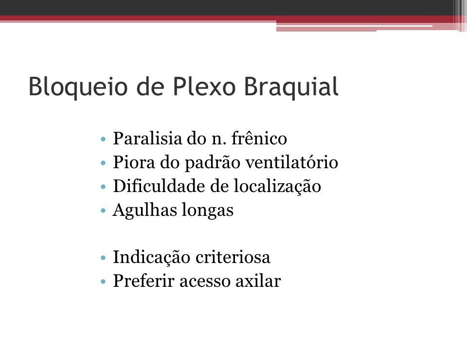 Bloqueio de Plexo Braquial Paralisia do n. frênico Piora do padrão ventilatório Dificuldade de localização Agulhas longas Indicação criteriosa Preferi