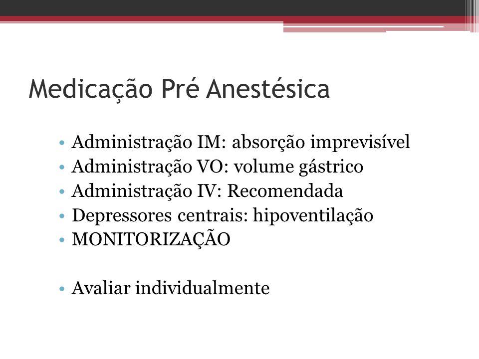 Medicação Pré Anestésica Administração IM: absorção imprevisível Administração VO: volume gástrico Administração IV: Recomendada Depressores centrais: