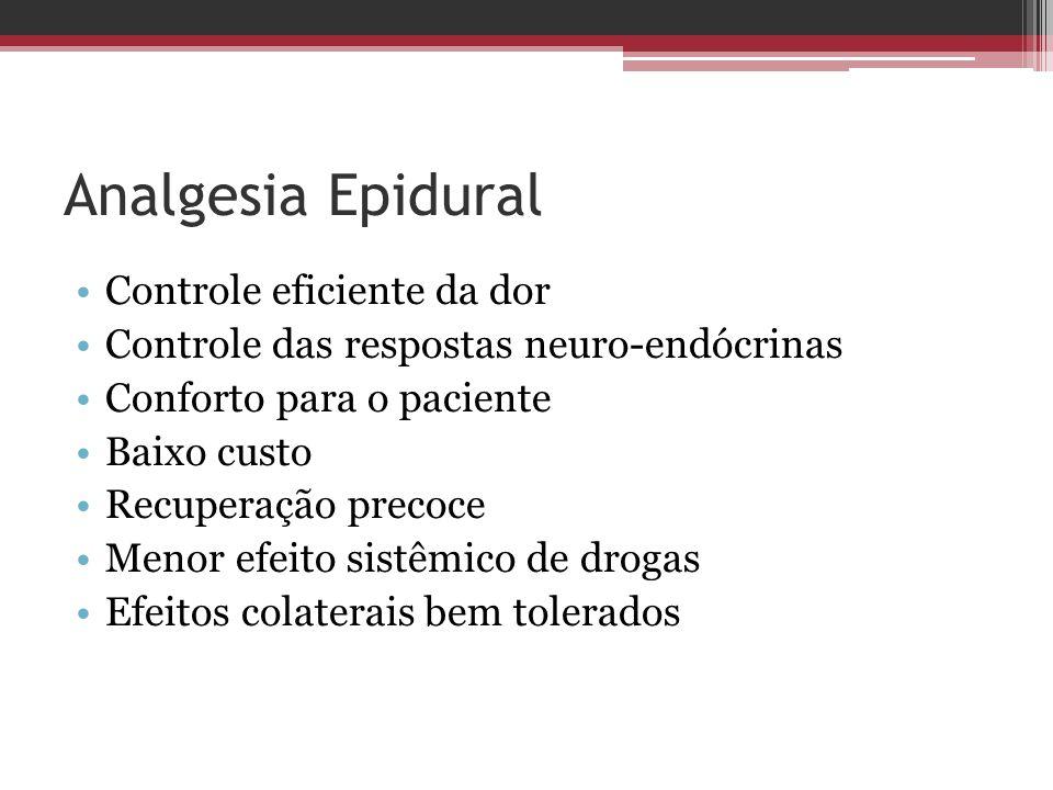 Analgesia Epidural Controle eficiente da dor Controle das respostas neuro-endócrinas Conforto para o paciente Baixo custo Recuperação precoce Menor ef