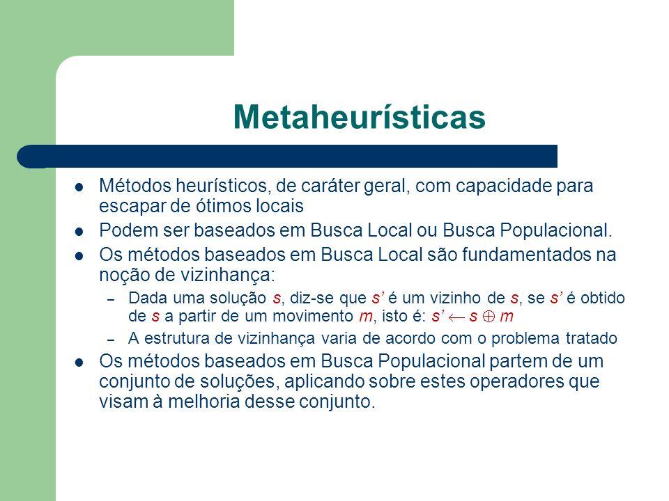 Metaheurísticas Métodos heurísticos, de caráter geral, com capacidade para escapar de ótimos locais Podem ser baseados em Busca Local ou Busca Populacional.
