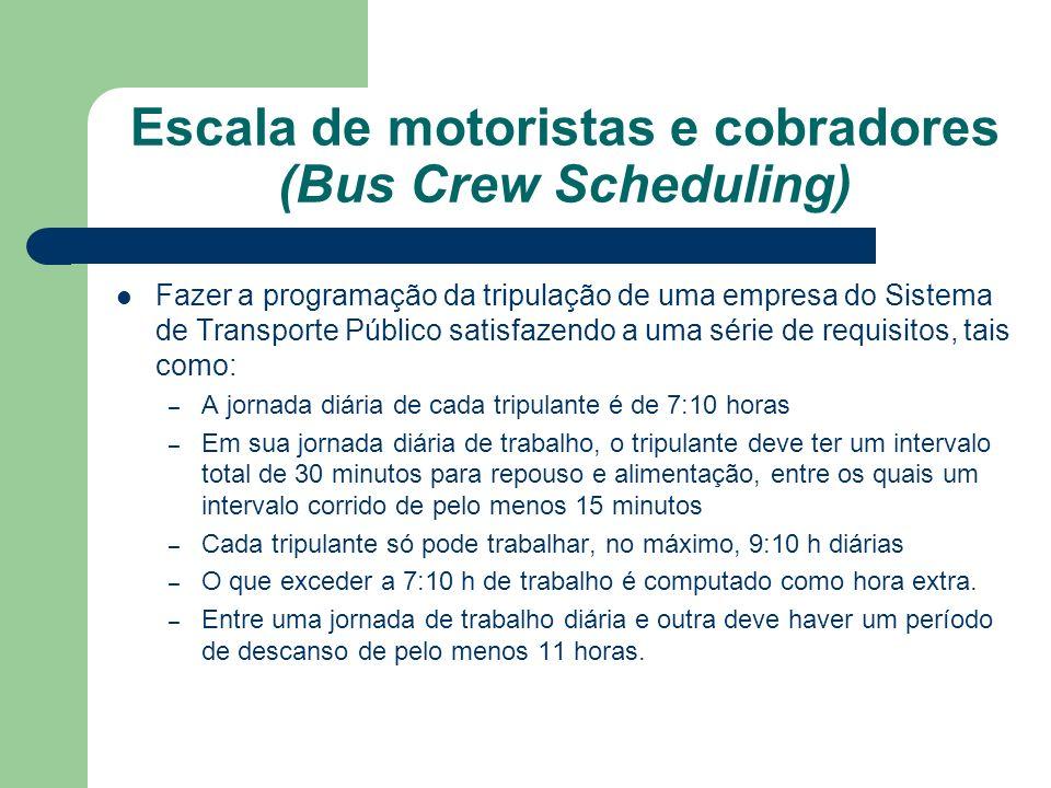 Escala de motoristas e cobradores (Bus Crew Scheduling) Fazer a programação da tripulação de uma empresa do Sistema de Transporte Público satisfazendo a uma série de requisitos, tais como: – A jornada diária de cada tripulante é de 7:10 horas – Em sua jornada diária de trabalho, o tripulante deve ter um intervalo total de 30 minutos para repouso e alimentação, entre os quais um intervalo corrido de pelo menos 15 minutos – Cada tripulante só pode trabalhar, no máximo, 9:10 h diárias – O que exceder a 7:10 h de trabalho é computado como hora extra.