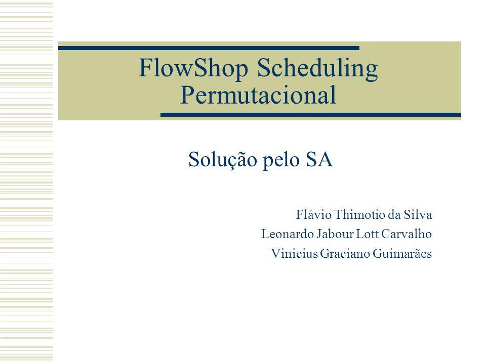 O FlowShop Scheduling Um conjunto de n tarefas devem ser processadas, em m máquinas ordenadamente Número de possíveis soluções = (n!)*m É um problema NP-difícil