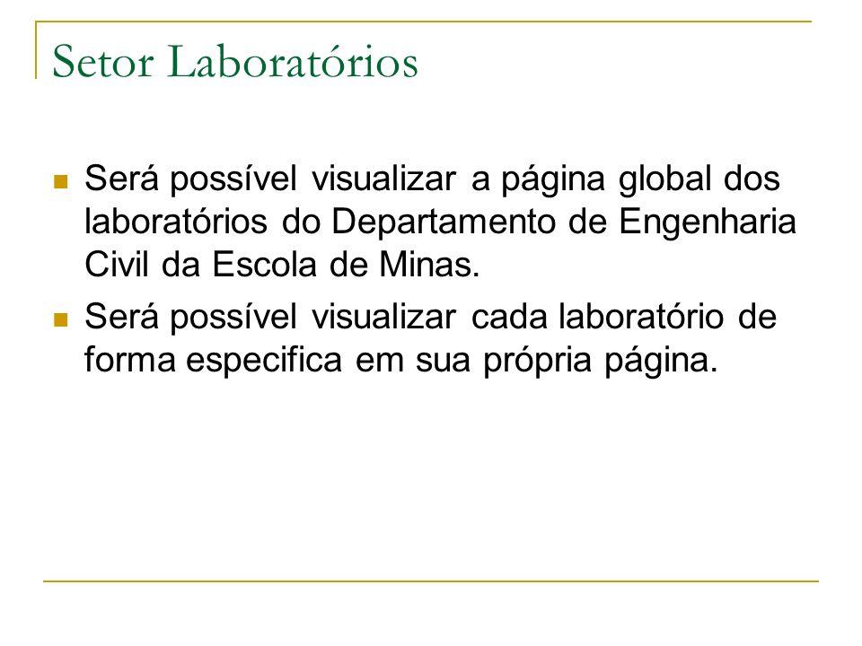 Setor Laboratórios Será possível visualizar a página global dos laboratórios do Departamento de Engenharia Civil da Escola de Minas. Será possível vis