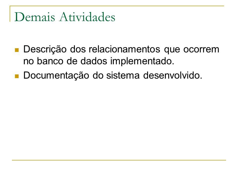 Demais Atividades Descrição dos relacionamentos que ocorrem no banco de dados implementado. Documentação do sistema desenvolvido.