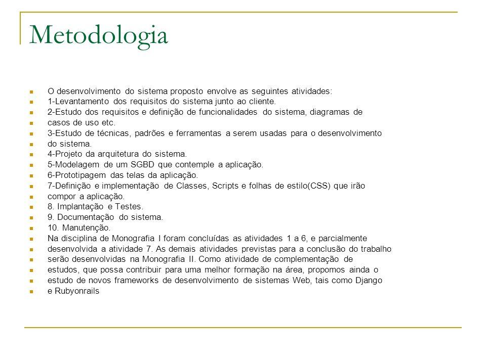 Metodologia O desenvolvimento do sistema proposto envolve as seguintes atividades: 1-Levantamento dos requisitos do sistema junto ao cliente. 2-Estudo