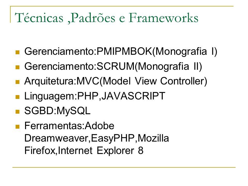 Técnicas,Padrões e Frameworks Gerenciamento:PMIPMBOK(Monografia I) Gerenciamento:SCRUM(Monografia II) Arquitetura:MVC(Model View Controller) Linguagem