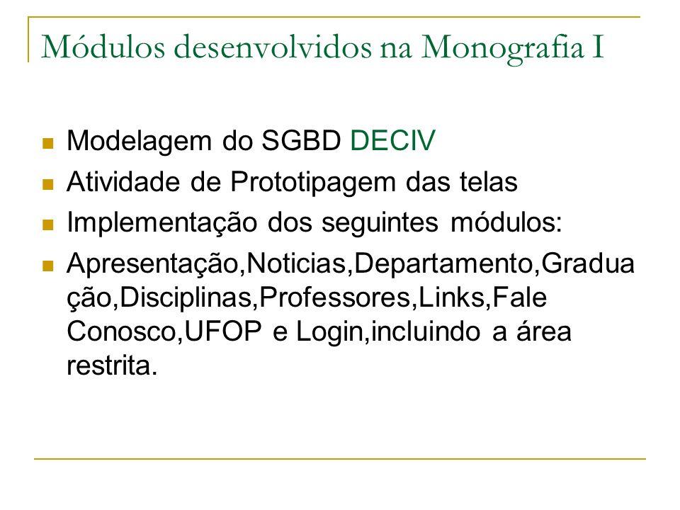 Módulos desenvolvidos na Monografia I Modelagem do SGBD DECIV Atividade de Prototipagem das telas Implementação dos seguintes módulos: Apresentação,No