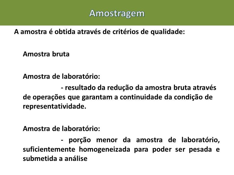 A amostra é obtida através de critérios de qualidade: Amostra bruta Amostra de laboratório: - resultado da redução da amostra bruta através de operaçõ