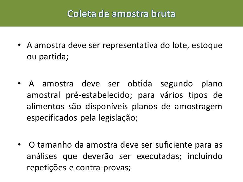 A amostra deve ser representativa do lote, estoque ou partida; A amostra deve ser obtida segundo plano amostral pré-estabelecido; para vários tipos de