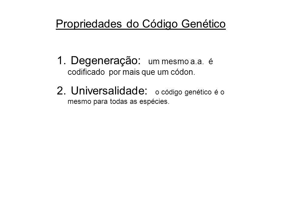 Propriedades do Código Genético 1. Degeneração: um mesmo a.a. é codificado por mais que um códon. 2. Universalidade: o código genético é o mesmo para