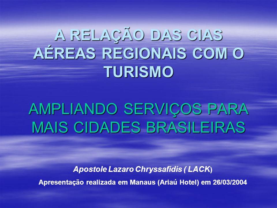 A RELAÇÃO DAS CIAS AÉREAS REGIONAIS COM O TURISMO AMPLIANDO SERVIÇOS PARA MAIS CIDADES BRASILEIRAS Apostole Lazaro Chryssafidis ( LACK ) Apresentação