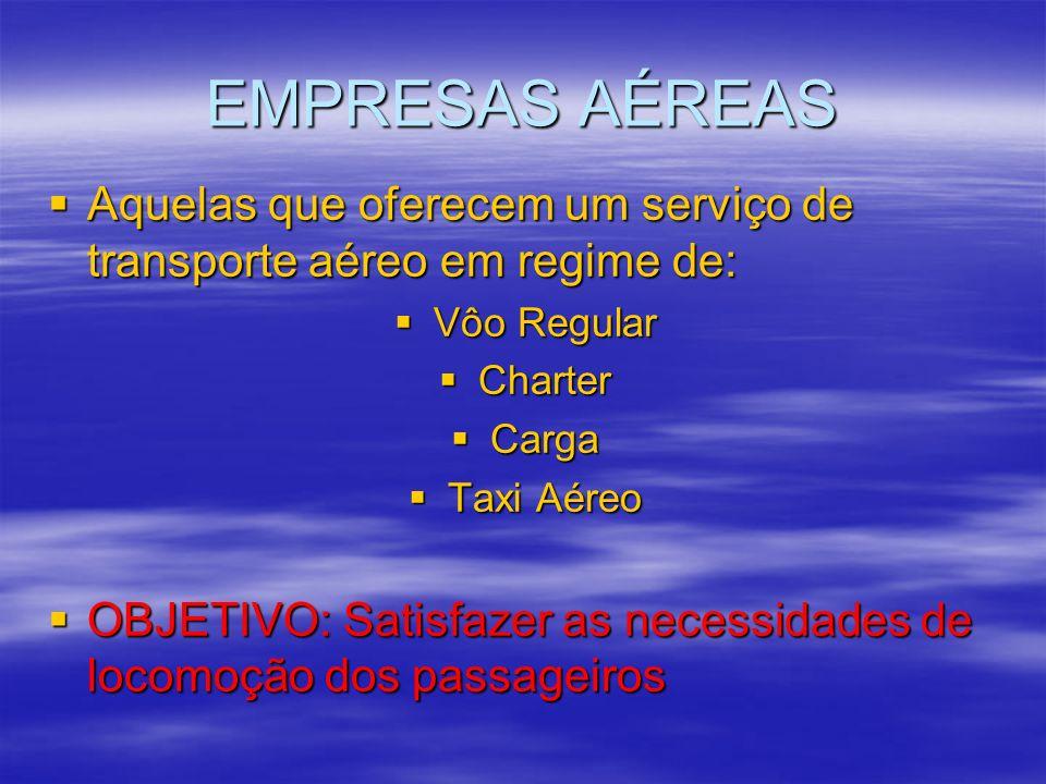 EMPRESAS AÉREAS Aquelas que oferecem um serviço de transporte aéreo em regime de: Aquelas que oferecem um serviço de transporte aéreo em regime de: Vô