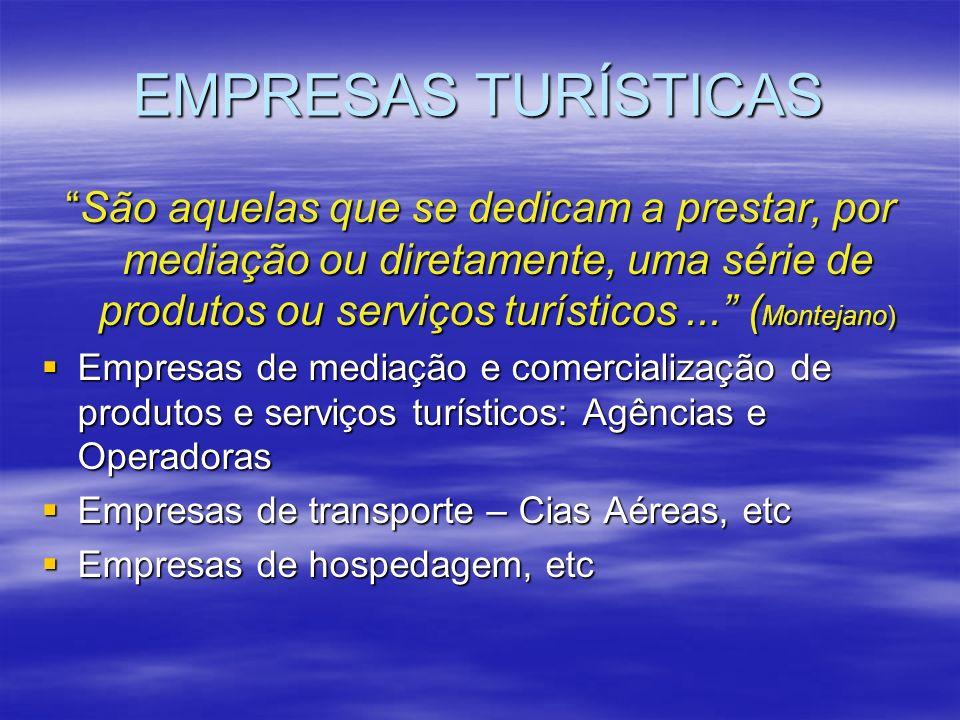 EMPRESAS TURÍSTICAS São aquelas que se dedicam a prestar, por mediação ou diretamente, uma série de produtos ou serviços turísticos... ( Montejano)São