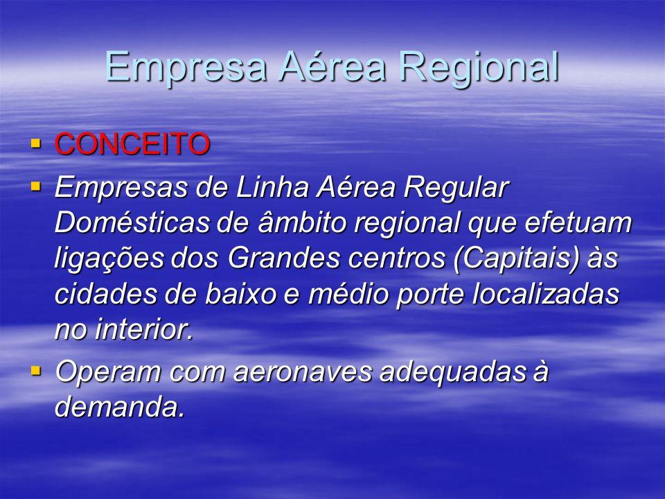 Empresa Aérea Regional CONCEITO CONCEITO Empresas de Linha Aérea Regular Domésticas de âmbito regional que efetuam ligações dos Grandes centros (Capit