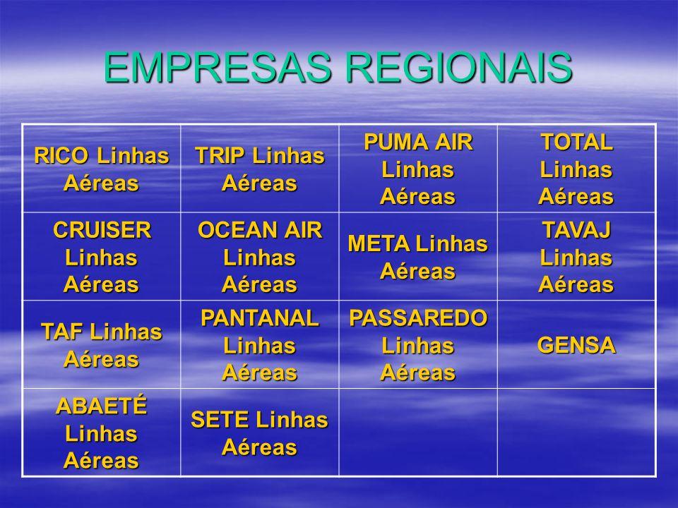 EMPRESAS REGIONAIS RICO Linhas Aéreas TRIP Linhas Aéreas PUMA AIR Linhas Aéreas TOTAL Linhas Aéreas CRUISER Linhas Aéreas OCEAN AIR Linhas Aéreas META