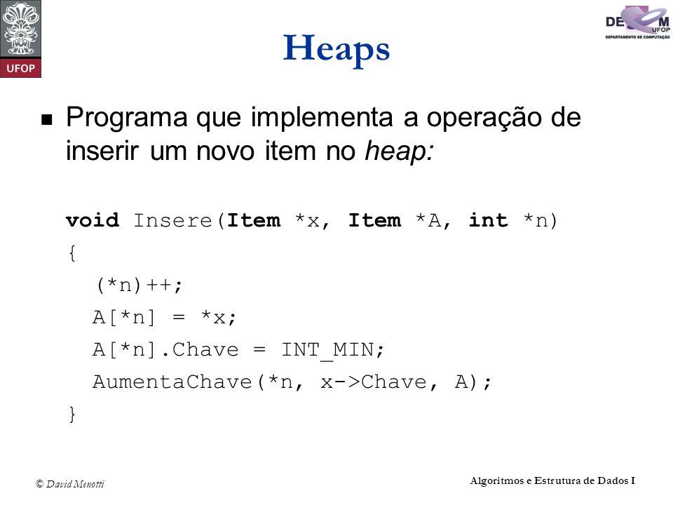 © David Menotti Algoritmos e Estrutura de Dados I Heaps Programa que implementa a operação de inserir um novo item no heap: void Insere(Item *x, Item