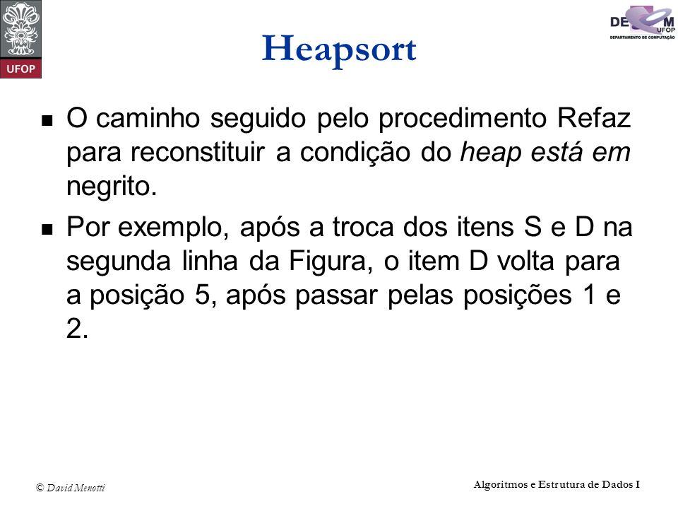 © David Menotti Algoritmos e Estrutura de Dados I Heapsort O caminho seguido pelo procedimento Refaz para reconstituir a condição do heap está em negr