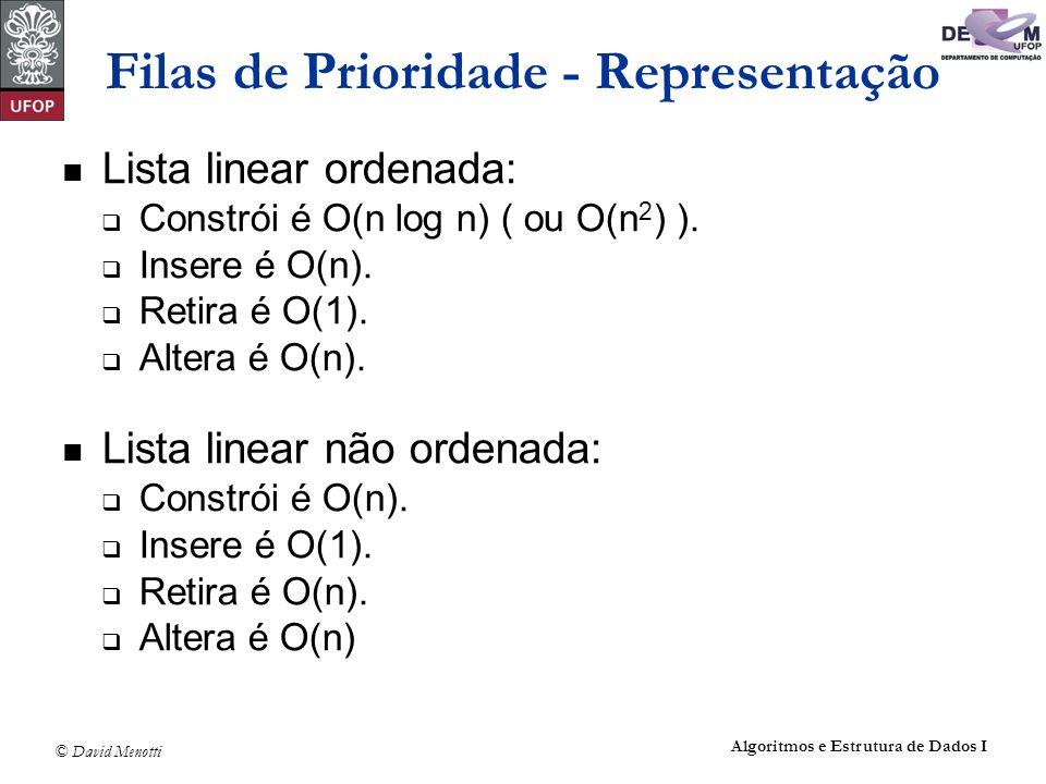 © David Menotti Algoritmos e Estrutura de Dados I Filas de Prioridade - Representação Lista linear ordenada: Constrói é O(n log n) ( ou O(n 2 ) ). Ins