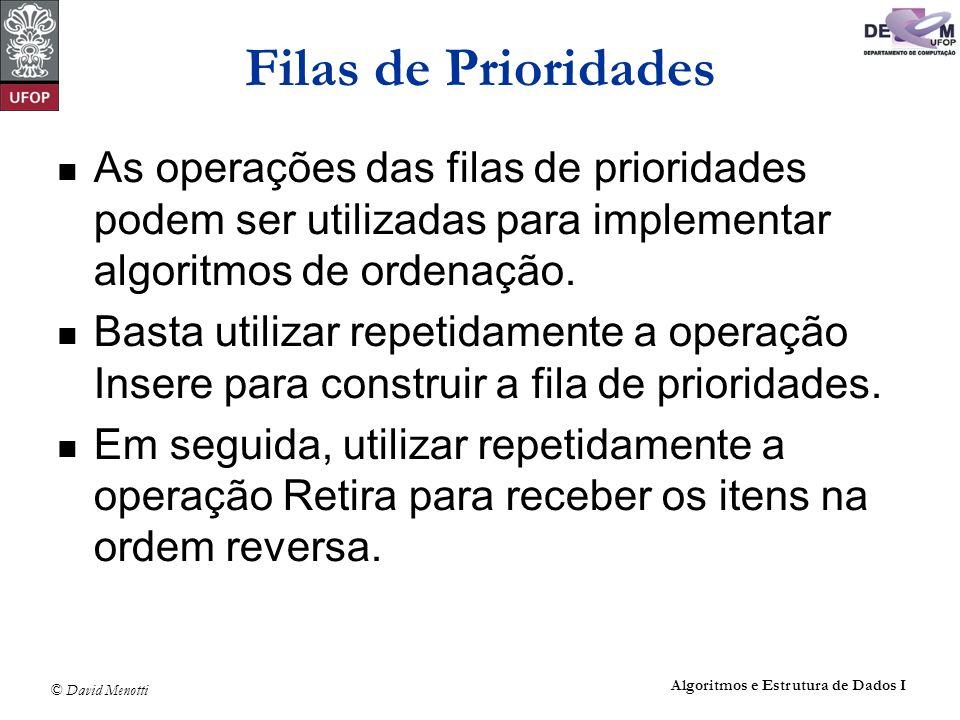 © David Menotti Algoritmos e Estrutura de Dados I Filas de Prioridades As operações das filas de prioridades podem ser utilizadas para implementar alg