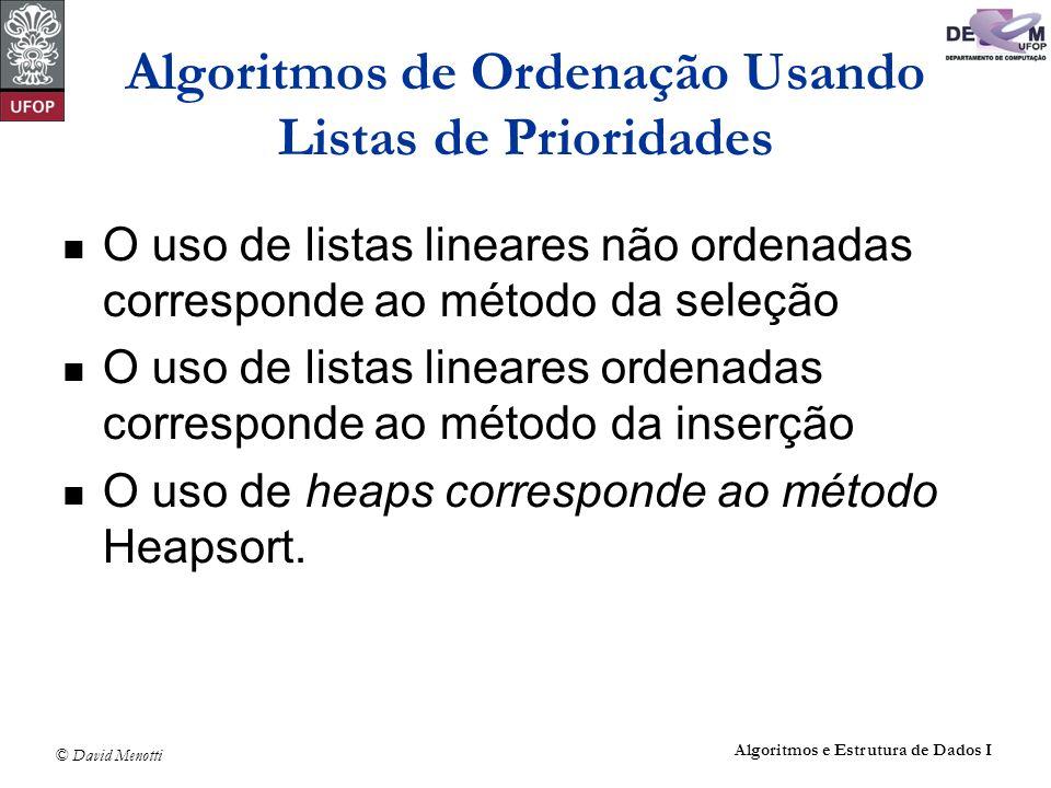 © David Menotti Algoritmos e Estrutura de Dados I Heaps Programa para construir o heap: void Constroi(Item *A, int *n) { int Esq; Esq = *n / 2 + 1; while (Esq > 1) { Esq--; Refaz(Esq, *n, A); }