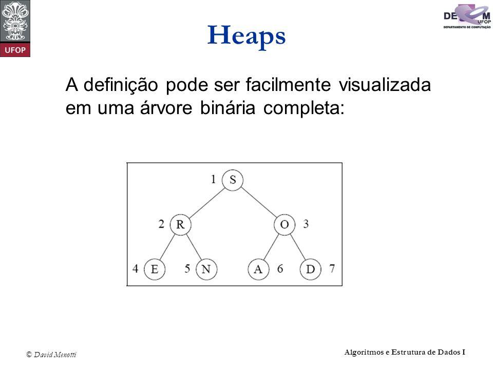 © David Menotti Algoritmos e Estrutura de Dados I Heaps Árvore binária completa: Os nós são numerados de 1 a n.