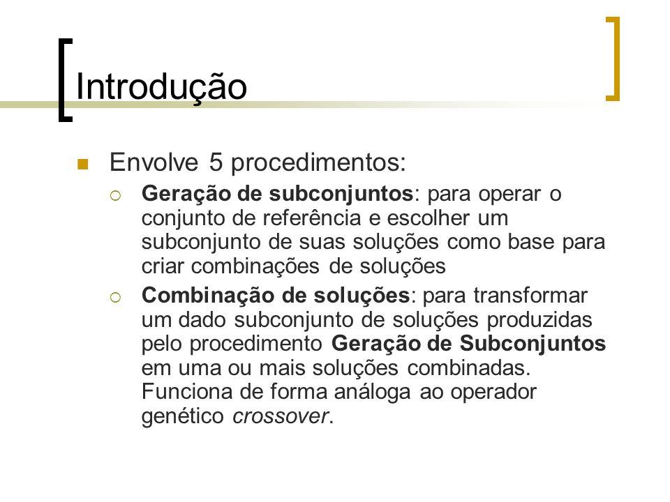 Introdução Envolve 5 procedimentos: Geração de subconjuntos: para operar o conjunto de referência e escolher um subconjunto de suas soluções como base