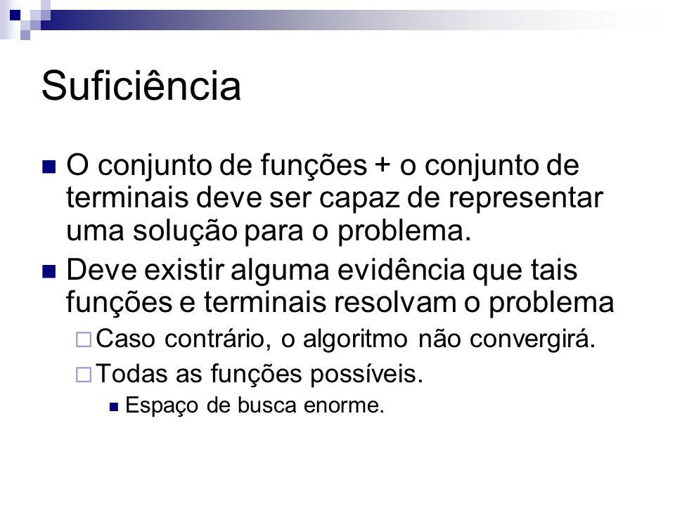 Suficiência O conjunto de funções + o conjunto de terminais deve ser capaz de representar uma solução para o problema. Deve existir alguma evidência q