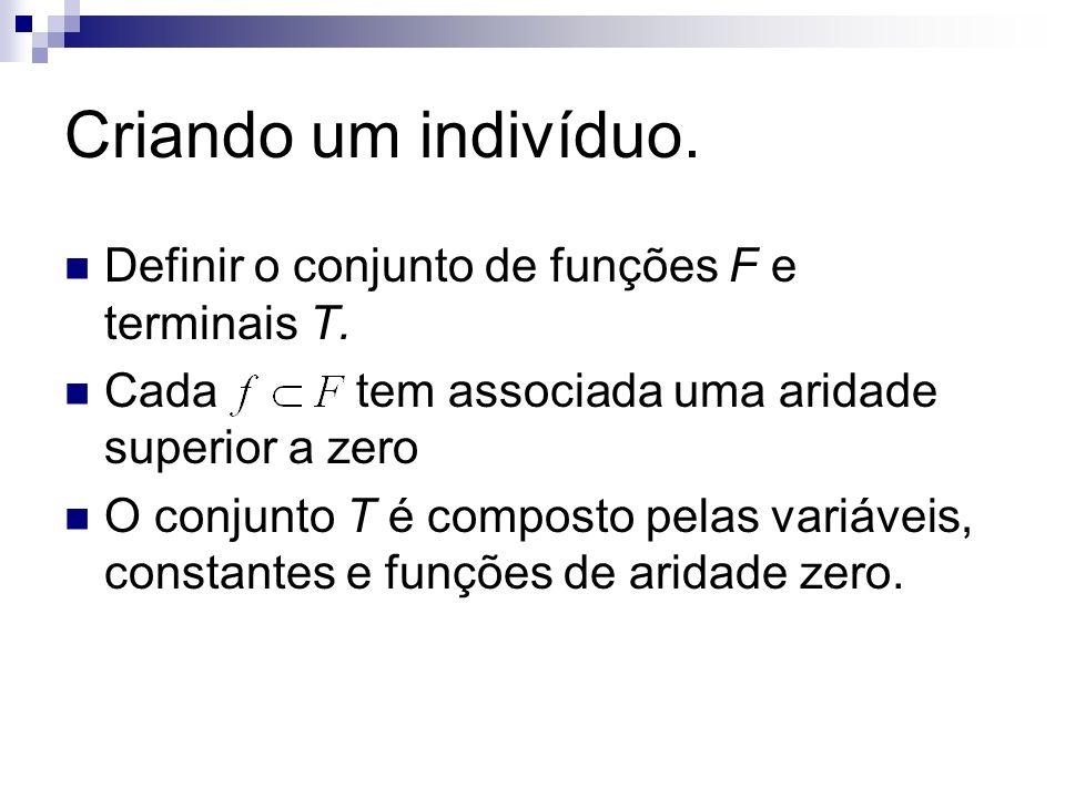 Criando um indivíduo. Definir o conjunto de funções F e terminais T. Cada tem associada uma aridade superior a zero O conjunto T é composto pelas vari