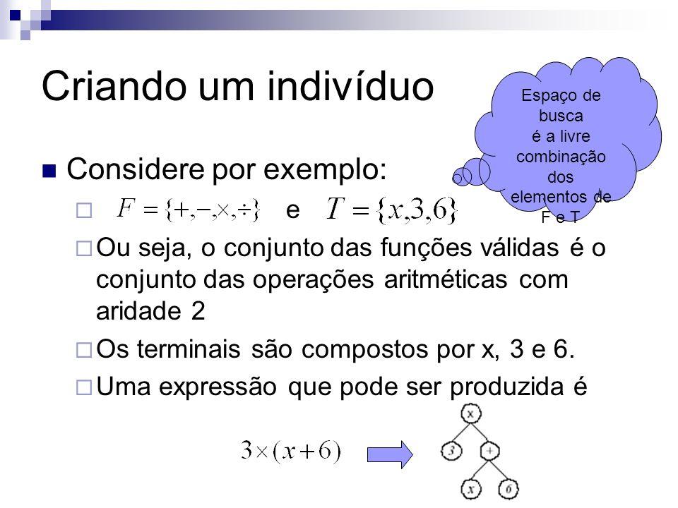 Criando um indivíduo Considere por exemplo: e Ou seja, o conjunto das funções válidas é o conjunto das operações aritméticas com aridade 2 Os terminai